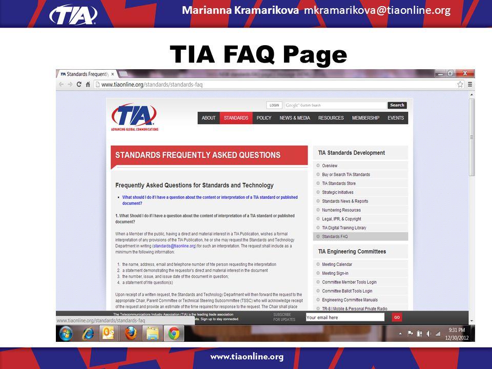 TIA FAQ Page Marianna Kramarikova mkramarikova@tiaonline.org
