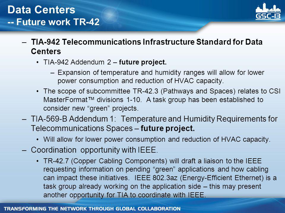 Data Centers -- Future work TR-42 –TIA-942 Telecommunications Infrastructure Standard for Data Centers TIA-942 Addendum 2 – future project.