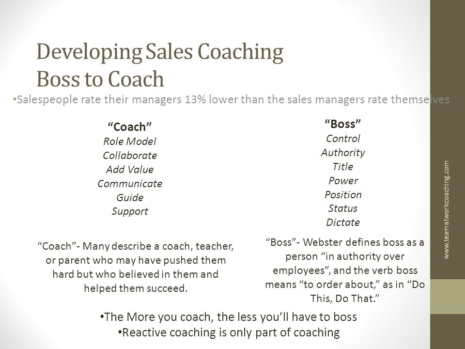 "Developing Sales Coaching Boss to Coach Salespeople rate their managers 13% lower than the sales managers rate themselves ""Coach"" Role Model Collabora"