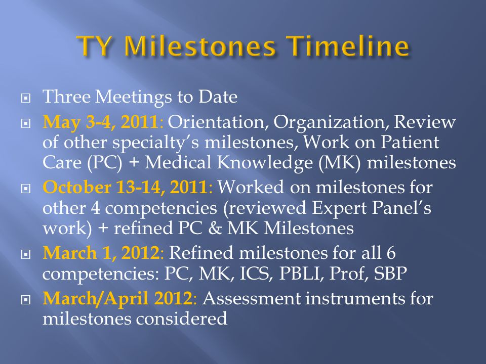  Three Meetings to Date  May 3-4, 2011 : Orientation, Organization, Review of other specialty's milestones, Work on Patient Care (PC) + Medical Knowledge (MK) milestones  October 13-14, 2011 : Worked on milestones for other 4 competencies (reviewed Expert Panel's work) + refined PC & MK Milestones  March 1, 2012 : Refined milestones for all 6 competencies: PC, MK, ICS, PBLI, Prof, SBP  March/April 2012 : Assessment instruments for milestones considered