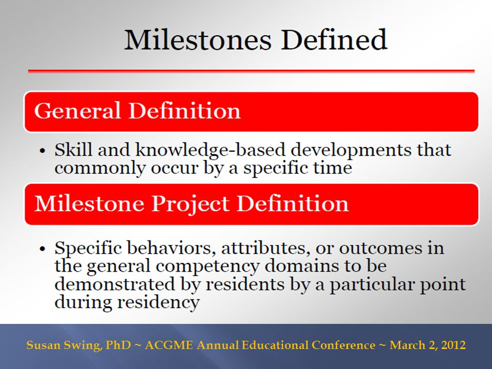  Synthesize feedback on milestones draft from this workshop + from recent TYRC review  Advisory Group to review milestones draft  Arrange for Categorical Residency Program Reps to review milestones draft  TY Milestones Working Group will meet to finalize milestones based on this input  Work with ACGME staff and TY RRC to finalize milestone reporting mechanism for TY programs