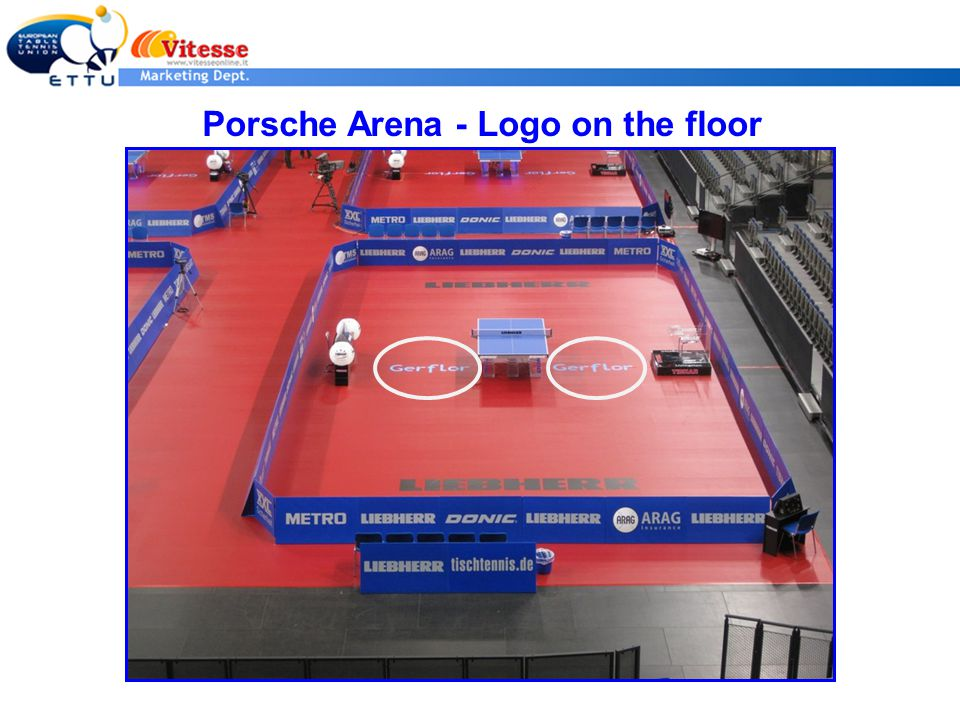 Long side Porsche Arena - Logo on the floor