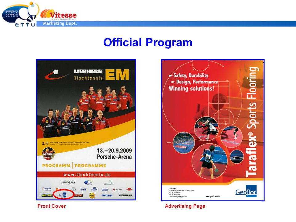 Official Program Front CoverAdvertising Page