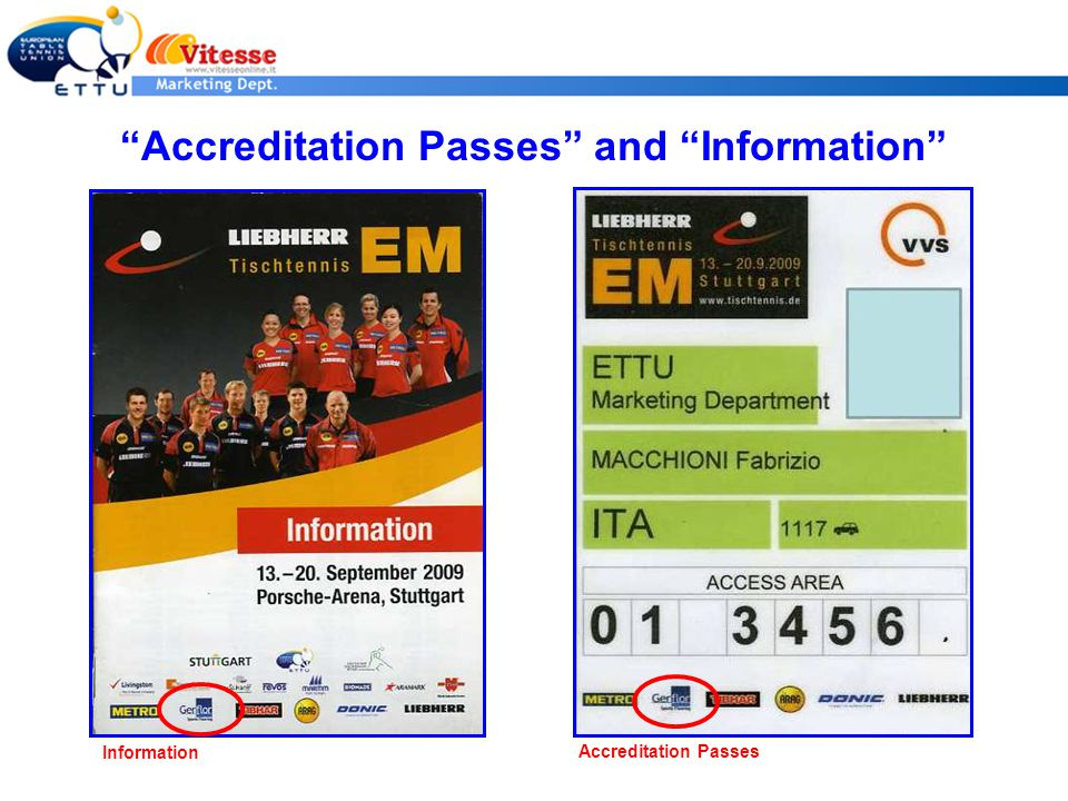 Accreditation Passes and Information Information Accreditation Passes