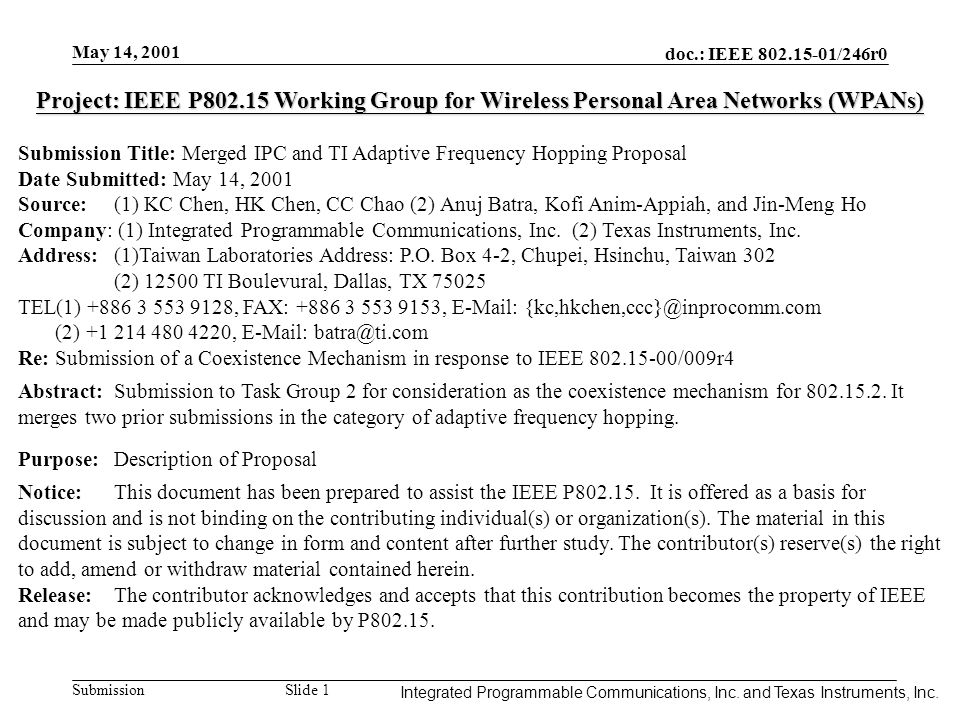 Integrated Programmable Communications, Inc. May 14, 2001 doc.: IEEE 802.15-01/246r0 Submission Slide 1 Integrated Programmable Communications, Inc. a