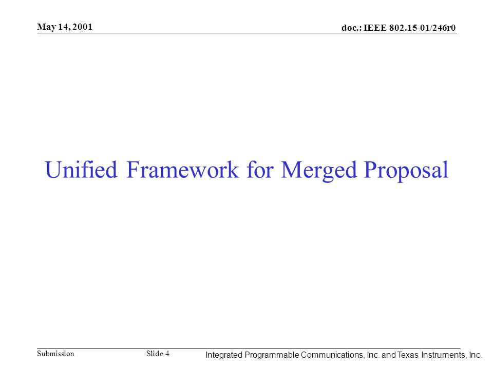 Integrated Programmable Communications, Inc. May 14, 2001 doc.: IEEE 802.15-01/246r0 Submission Slide 4 Integrated Programmable Communications, Inc. a