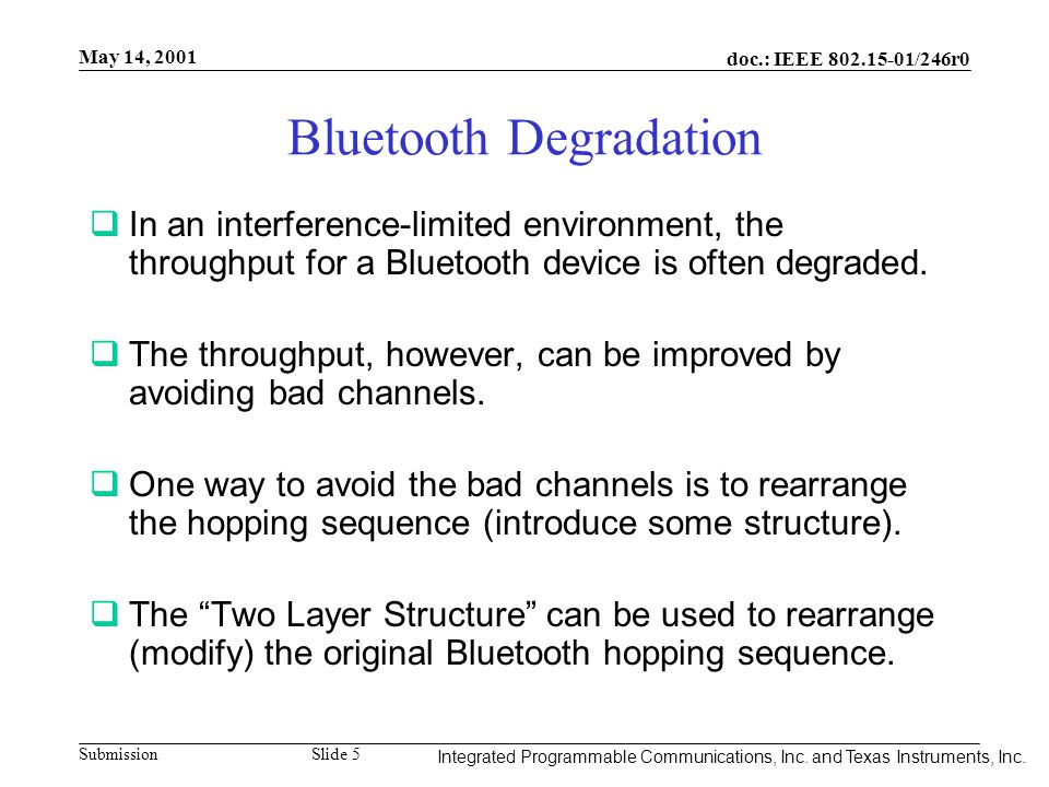 Integrated Programmable Communications, Inc. May 14, 2001 doc.: IEEE 802.15-01/246r0 Submission Slide 5 Integrated Programmable Communications, Inc. a