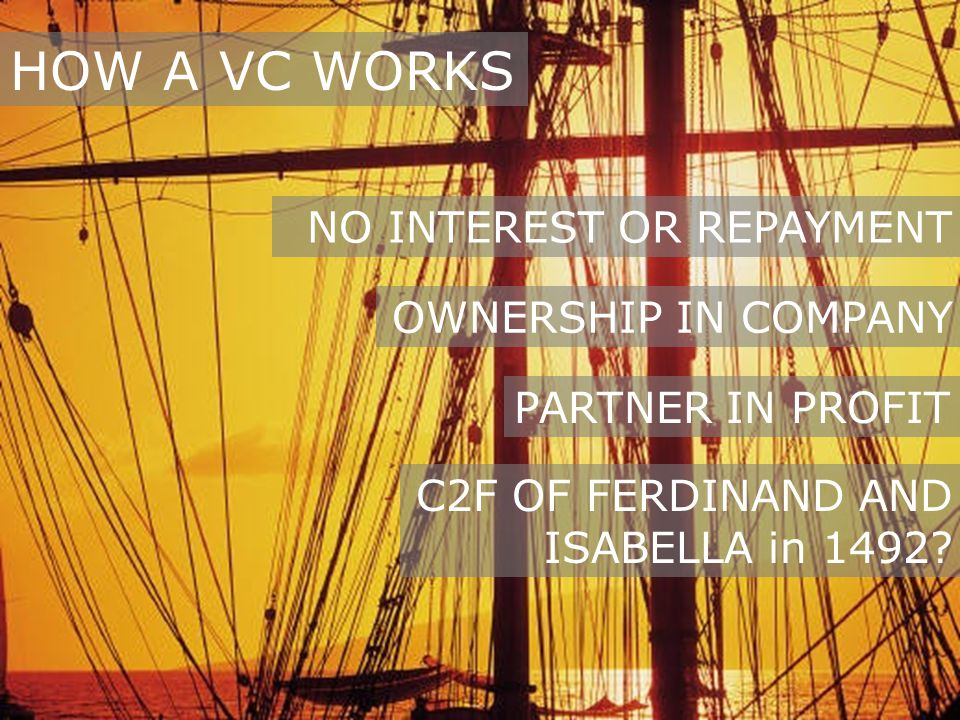 HOW A VC WORKS NO INTEREST OR REPAYMENT OWNERSHIP IN COMPANY PARTNER IN PROFIT C2F OF FERDINAND AND ISABELLA in 1492
