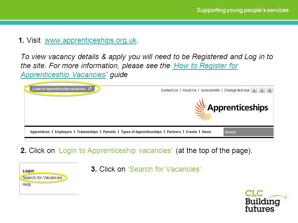 1. Visit www.apprenticeships.org.uk.www.apprenticeships.org.uk Supporting young people's services 2. Click on 'Login to Apprenticeship vacancies' (at