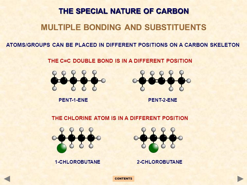 MULTIPLE BONDING AND SUBSTITUENTS ATOMS/GROUPS CAN BE PLACED IN DIFFERENT POSITIONS ON A CARBON SKELETON CONTENTS THE SPECIAL NATURE OF CARBON THE C=C