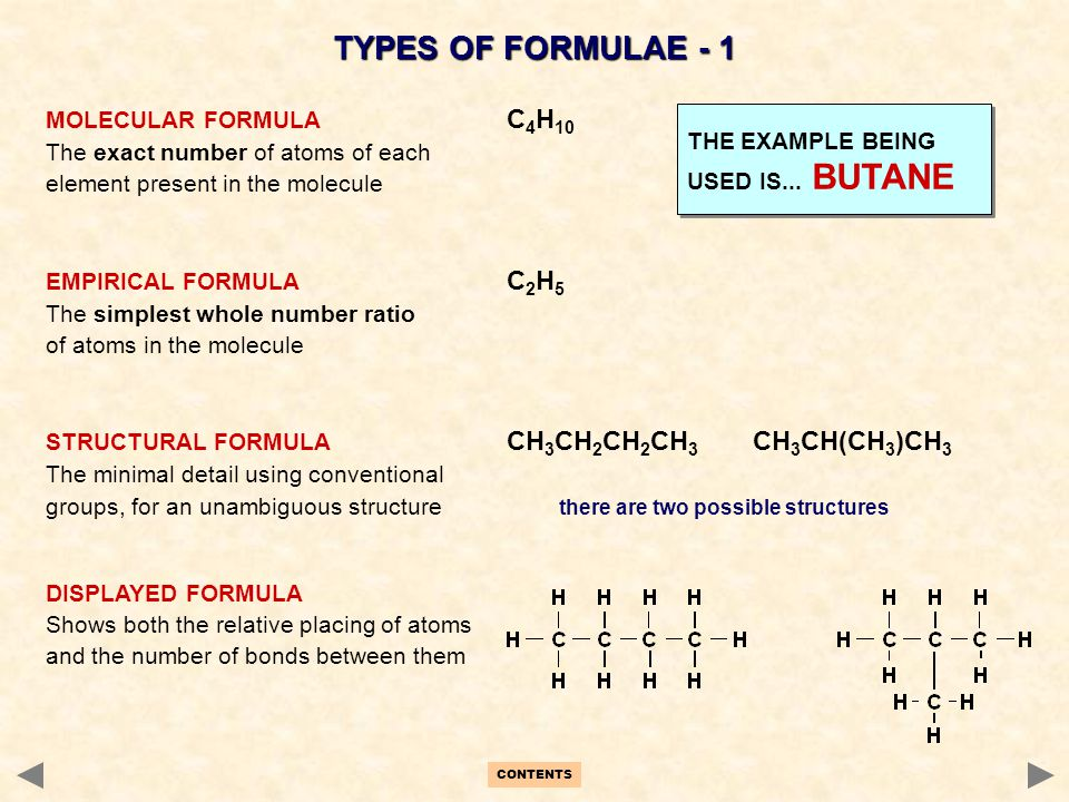 CONTENTS TYPES OF FORMULAE - 1 MOLECULAR FORMULA C 4 H 10 The exact number of atoms of each element present in the molecule EMPIRICAL FORMULA C 2 H 5