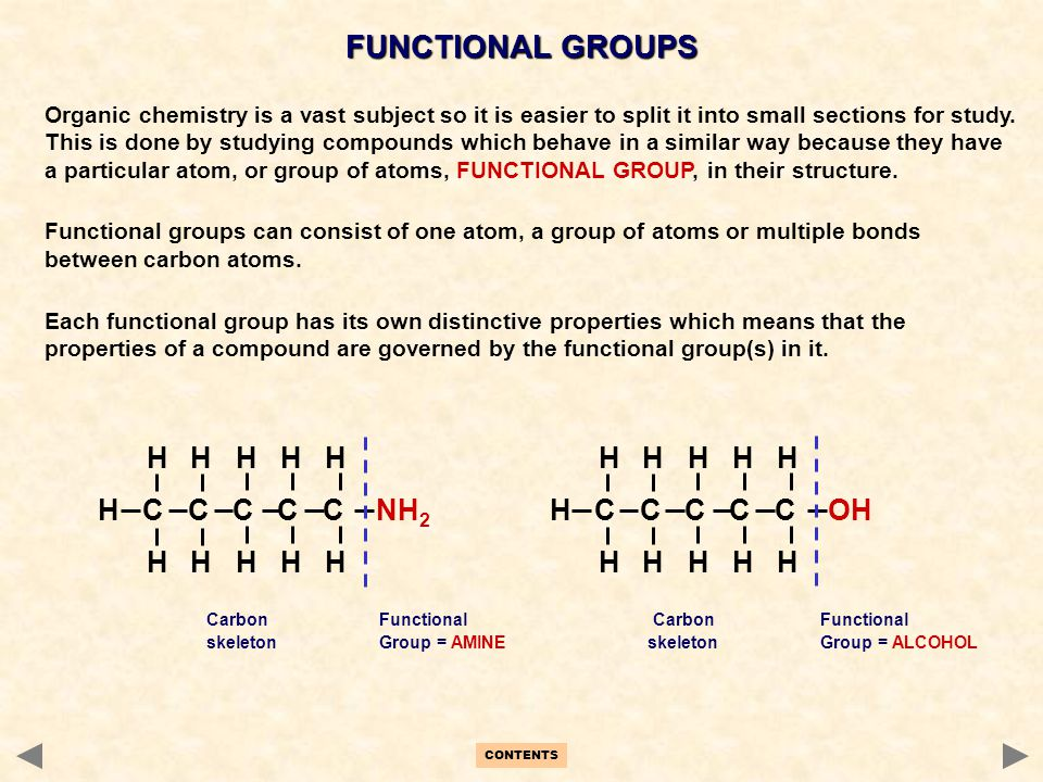 CONTENTS FUNCTIONAL GROUPS Organic chemistry is a vast subject so it is easier to split it into small sections for study. This is done by studying com