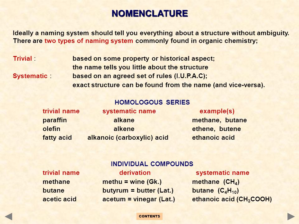 CONTENTS NOMENCLATURE Ideally a naming system should tell you everything about a structure without ambiguity. There are two types of naming system com