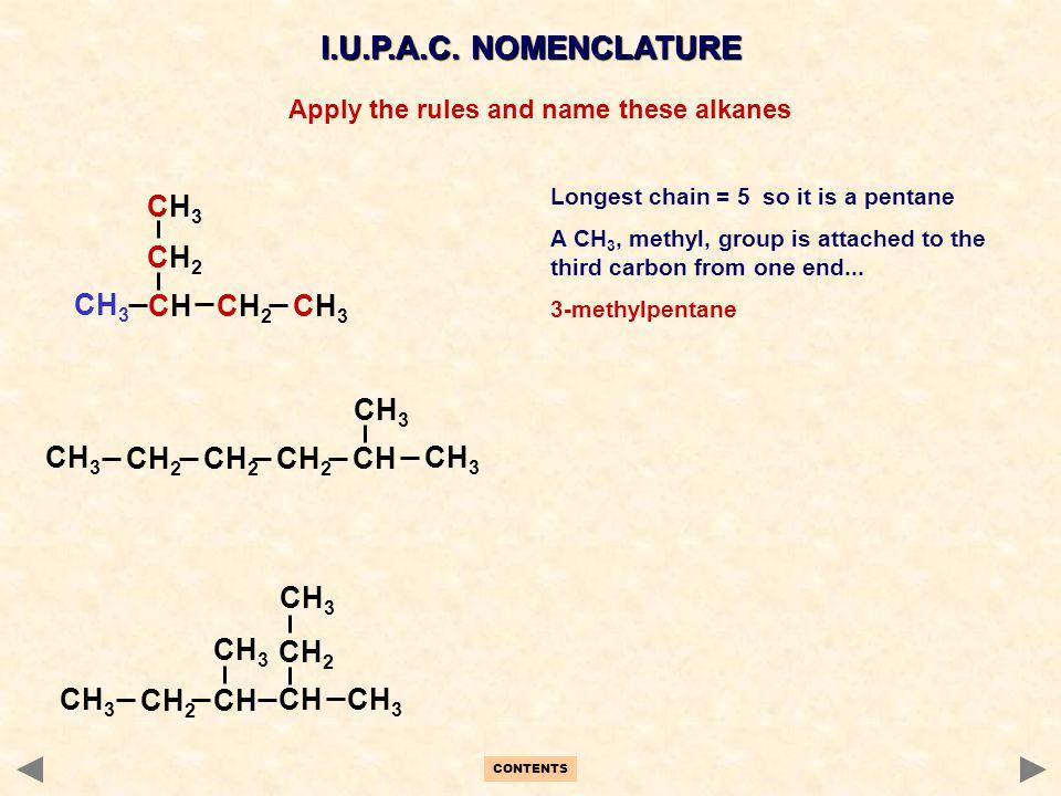 CH 2 CH 3 CH 2 CH CH 3 CH2CH2 CH3CH3 CHCH CH2CH2 CH3CH3 I.U.P.A.C. NOMENCLATURE CH 3 CH CH 2 CH 3 CH CH 3 Longest chain = 5 so it is a pentane A CH 3,