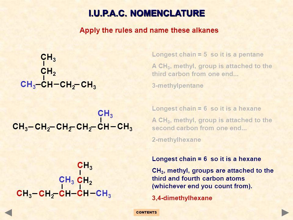 CH 2 CH 3 CH 2 CH CH 3 CH 2 CH 3 CH CH 2 CH 3 I.U.P.A.C. NOMENCLATURE CH3CH3 CH 3 CHCH CH2CH2 CH2CH2 CH3CH3 CHCH Longest chain = 5 so it is a pentane