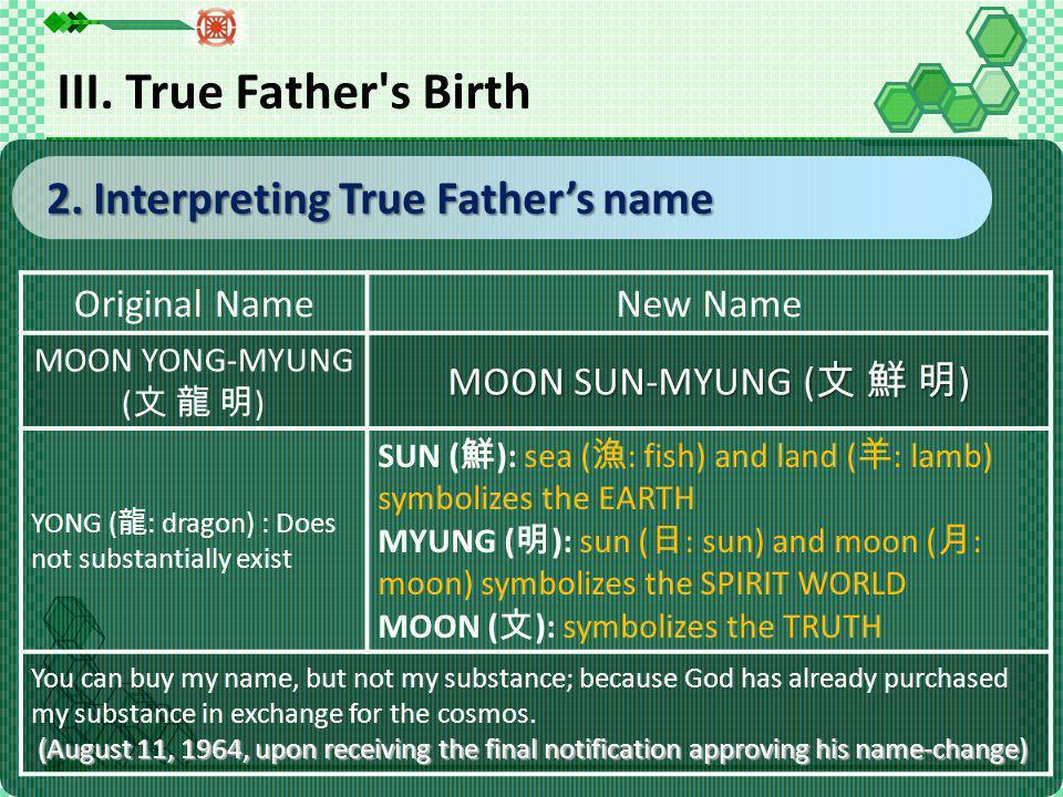 2.Interpreting True Father's name 2.