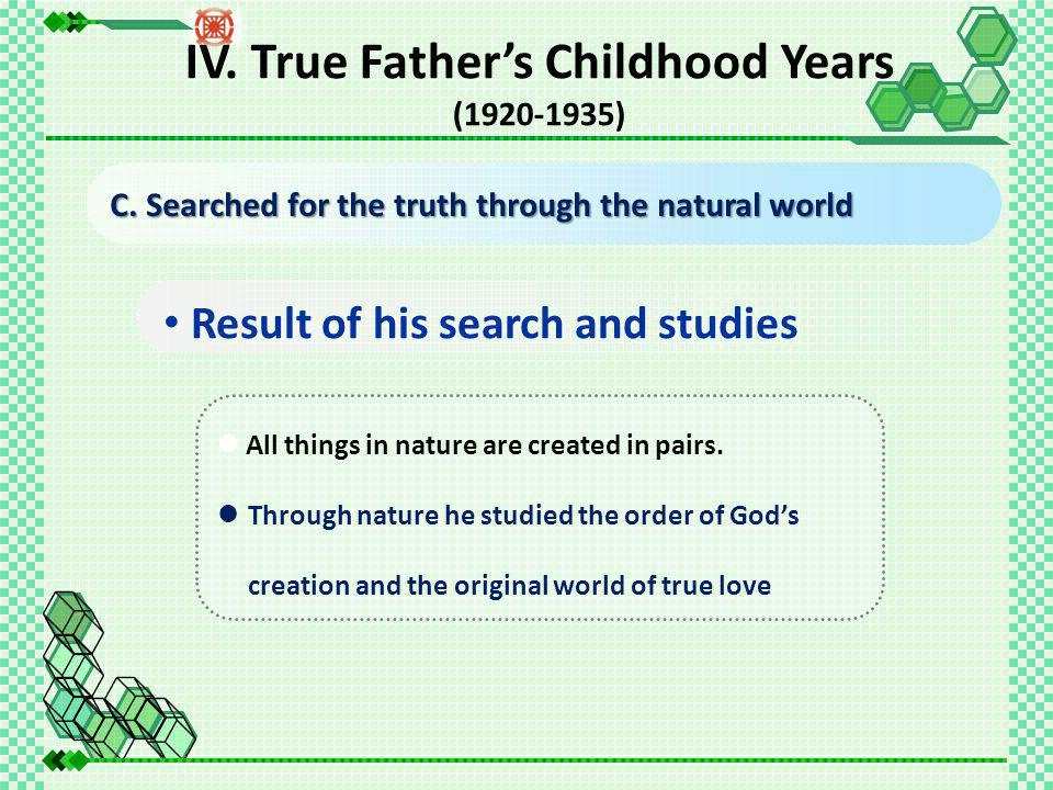 Result of his search and studies All things in nature are created in pairs.
