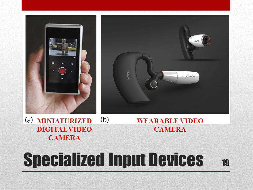 Specialized Input Devices 19 MINIATURIZED DIGITAL VIDEO CAMERA WEARABLE VIDEO CAMERA