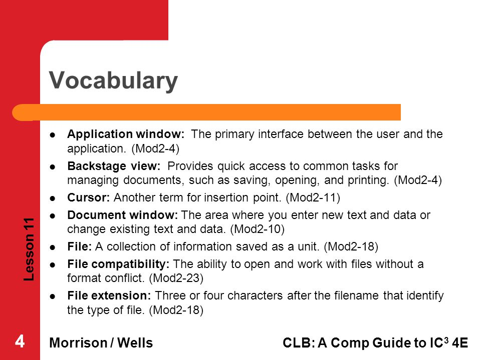 Lesson 11 Morrison / WellsCLB: A Comp Guide to IC 3 4E 444 Vocabulary Application window: The primary interface between the user and the application.