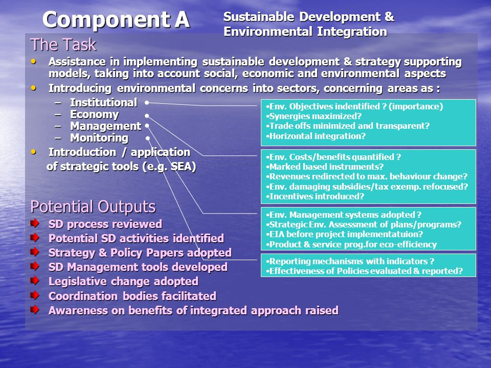Component A The Task Assistance in implementing sustainable development & strategy supporting models, taking into account social, economic and environmental aspects Assistance in implementing sustainable development & strategy supporting models, taking into account social, economic and environmental aspects Introducing environmental concerns into sectors, concerning areas as : Introducing environmental concerns into sectors, concerning areas as : –Institutional –Economy –Management –Monitoring Introduction / application Introduction / application of strategic tools (e.g.