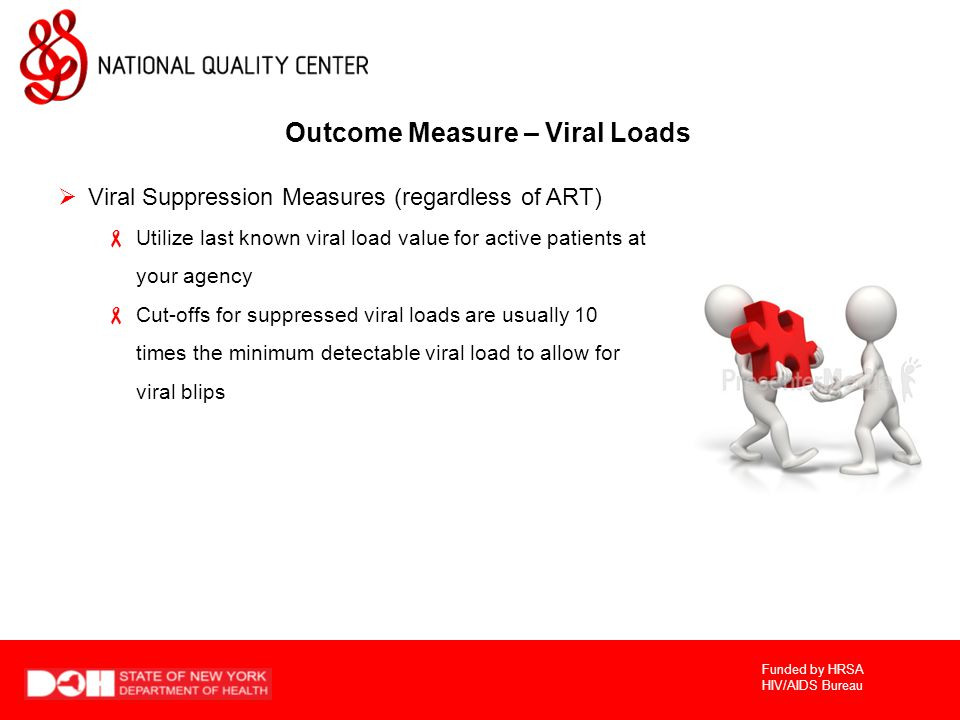 Funded by HRSA HIV/AIDS Bureau Outcome Measure – Viral Loads  Viral Suppression Measures (regardless of ART)  Utilize last known viral load value for active patients at your agency  Cut-offs for suppressed viral loads are usually 10 times the minimum detectable viral load to allow for viral blips