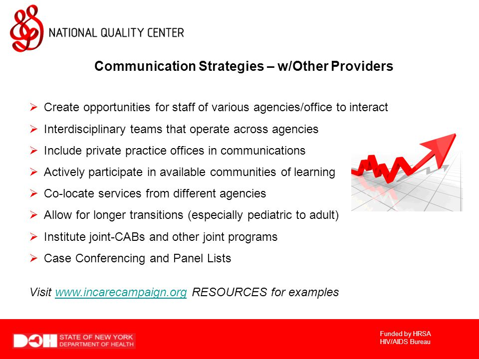 Funded by HRSA HIV/AIDS Bureau Communication Strategies – w/Other Providers  Create opportunities for staff of various agencies/office to interact  Interdisciplinary teams that operate across agencies  Include private practice offices in communications  Actively participate in available communities of learning  Co-locate services from different agencies  Allow for longer transitions (especially pediatric to adult)  Institute joint-CABs and other joint programs  Case Conferencing and Panel Lists Visit www.incarecampaign.org RESOURCES for exampleswww.incarecampaign.org