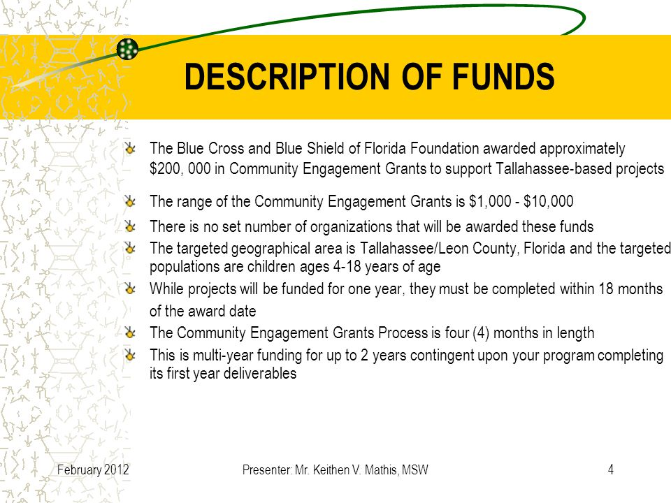 February 2012Presenter: Mr.Keithen V. Mathis, MSW15 MINI-GRANT APPLICATION DETAILS (CONT.) II.