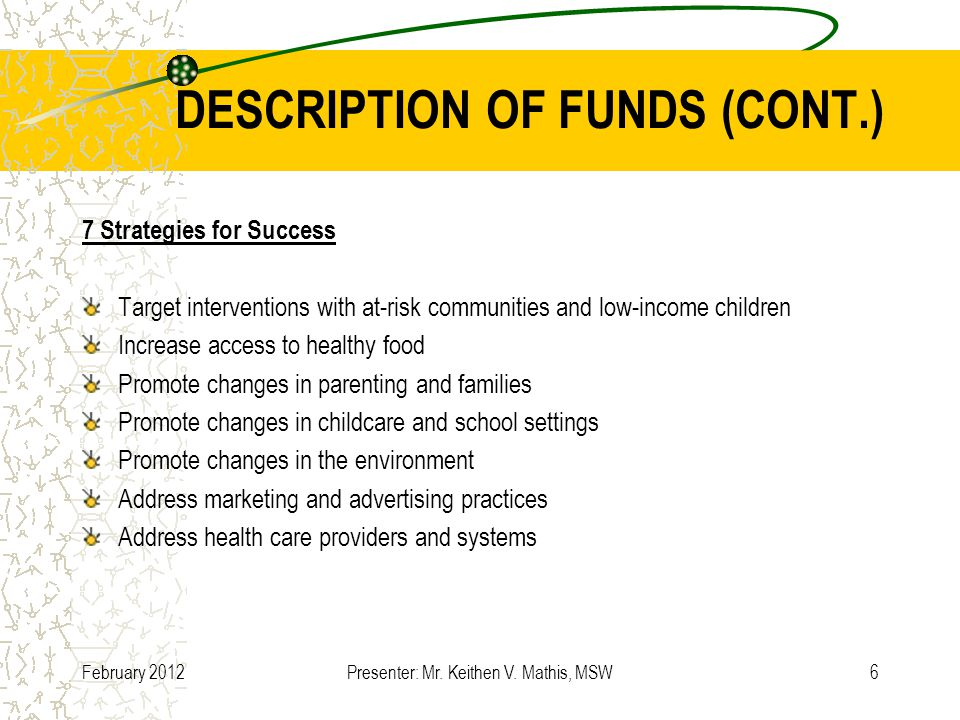 DESCRIPTION OF FUNDS (CONT.) 7 Strategies for Success Target interventions with at-risk communities and low-income children Increase access to healthy food Promote changes in parenting and families Promote changes in childcare and school settings Promote changes in the environment Address marketing and advertising practices Address health care providers and systems February 2012Presenter: Mr.
