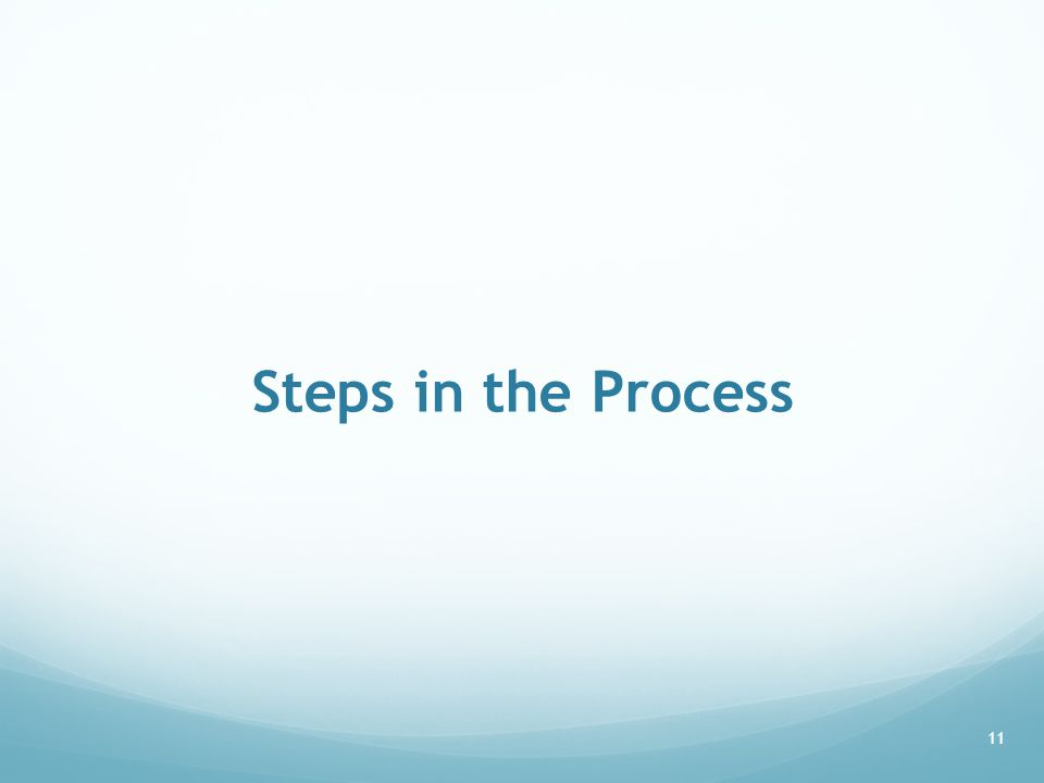 Steps in the Process 11