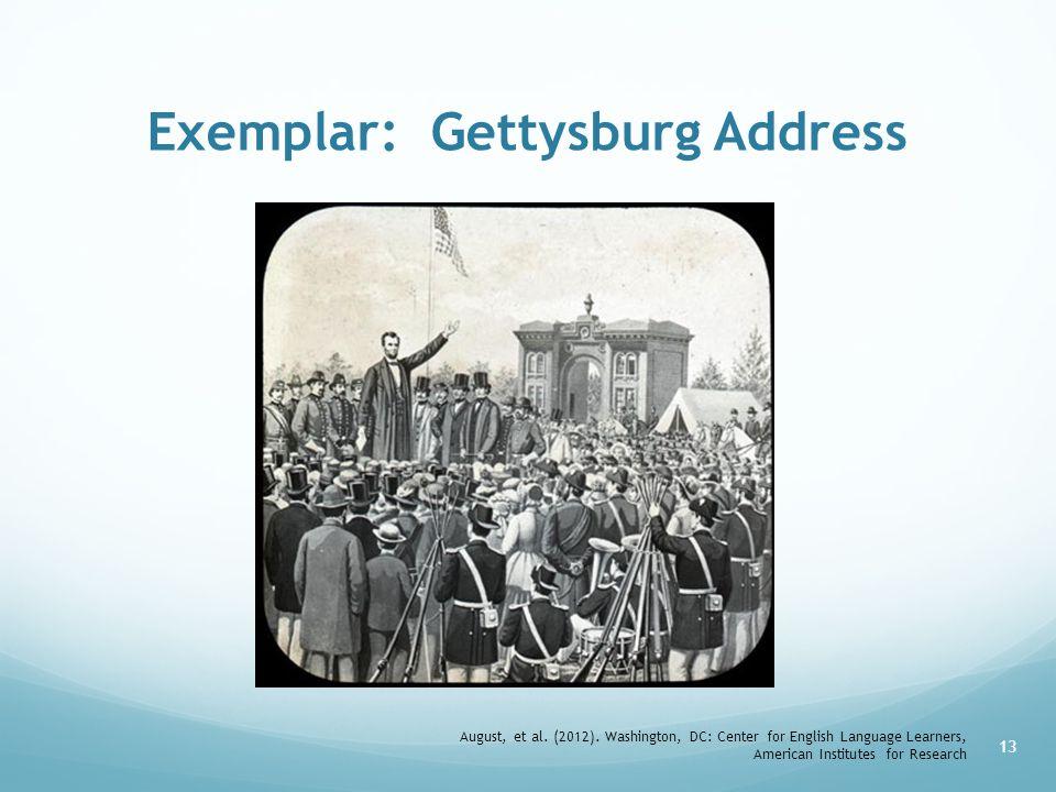 Exemplar: Gettysburg Address August, et al.(2012).