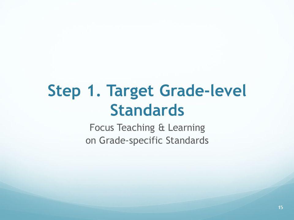 Step 1. Target Grade-level Standards Focus Teaching & Learning on Grade-specific Standards 15
