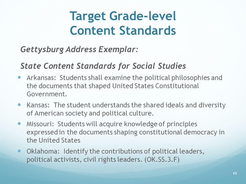 Target Grade-level Content Standards Gettysburg Address Exemplar: State Content Standards for Social Studies Arkansas: Students shall examine the poli