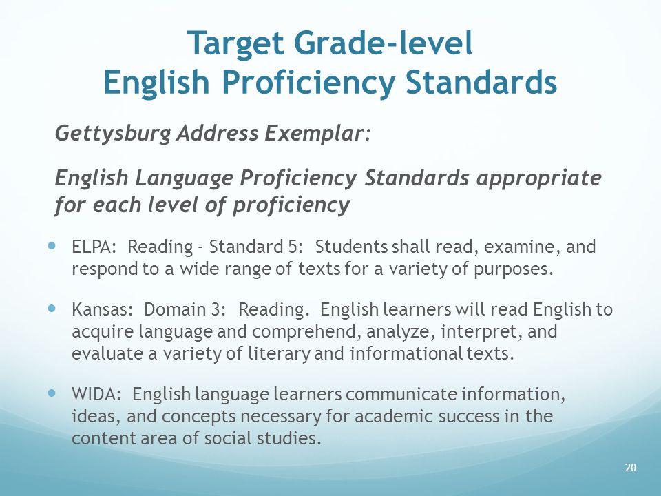 Target Grade-level English Proficiency Standards Gettysburg Address Exemplar: English Language Proficiency Standards appropriate for each level of pro