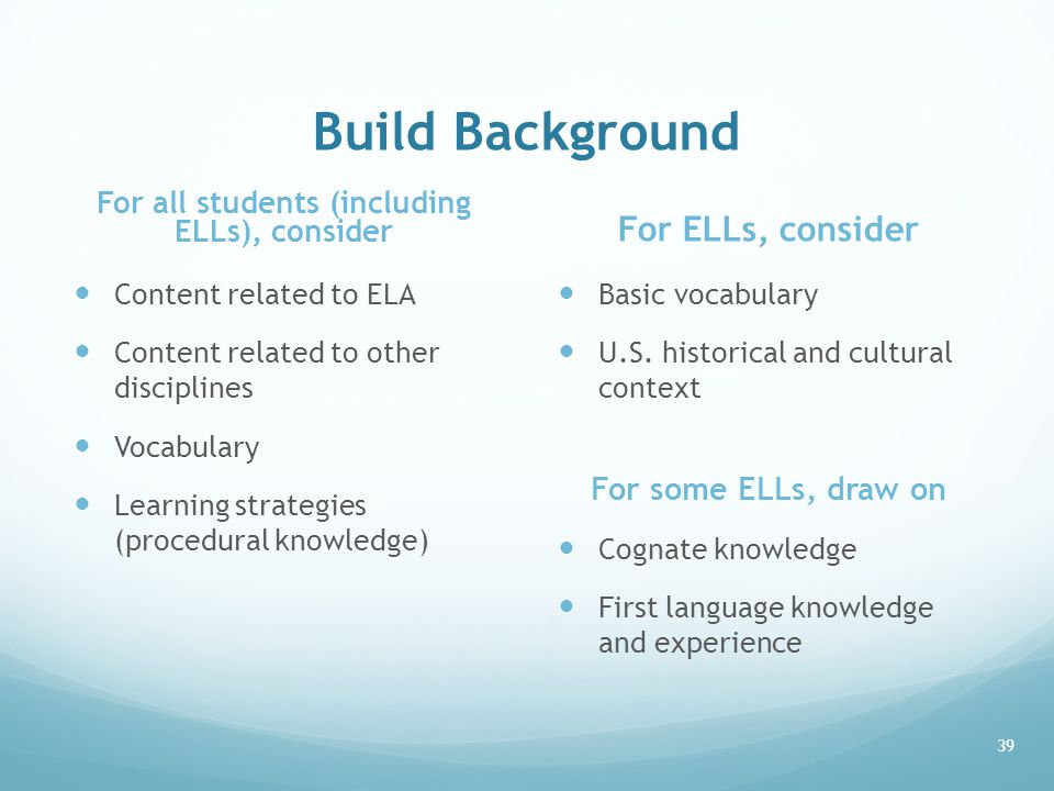 Build Background For all students (including ELLs), consider Content related to ELA Content related to other disciplines Vocabulary Learning strategie