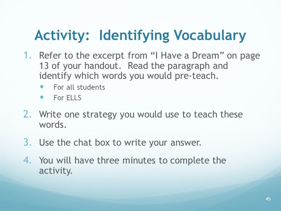 Activity: Identifying Vocabulary 1.