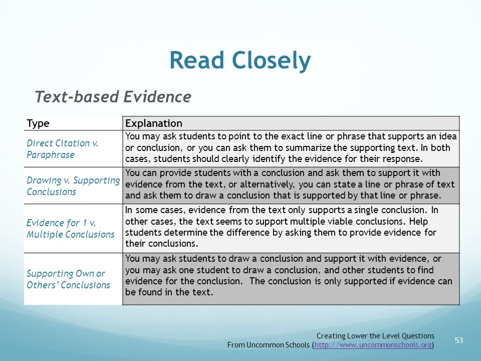 Read Closely Text-based Evidence 53 TypeExplanation Direct Citation v.