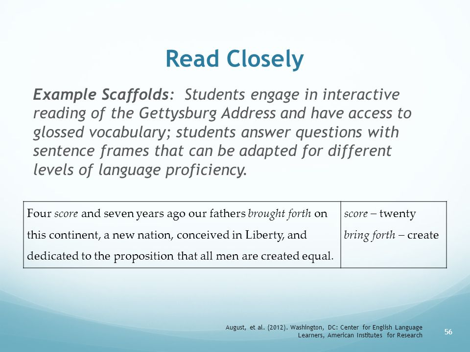 Read Closely Example Scaffolds: Students engage in interactive reading of the Gettysburg Address and have access to glossed vocabulary; students answer questions with sentence frames that can be adapted for different levels of language proficiency.