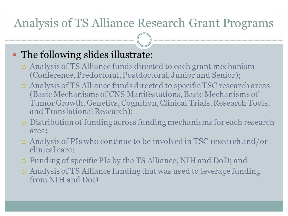 Analysis of TS Alliance Research Grant Programs The following slides illustrate:  Analysis of TS Alliance funds directed to each grant mechanism (Conference, Predoctoral, Postdoctoral, Junior and Senior);  Analysis of TS Alliance funds directed to specific TSC research areas (Basic Mechanisms of CNS Manifestations, Basic Mechanisms of Tumor Growth, Genetics, Cognition, Clinical Trials, Research Tools, and Translational Research);  Distribution of funding across funding mechanisms for each research area;  Analysis of PIs who continue to be involved in TSC research and/or clinical care;  Funding of specific PIs by the TS Alliance, NIH and DoD; and  Analysis of TS Alliance funding that was used to leverage funding from NIH and DoD