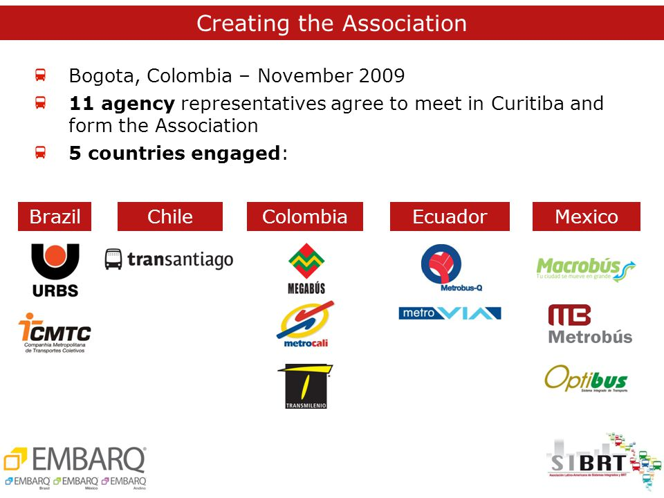 Bogota, Colombia – November 2009 11 agency representatives agree to meet in Curitiba and form the Association 5 countries engaged: MexicoBrazilEcuadorChileColombia Creating the Association