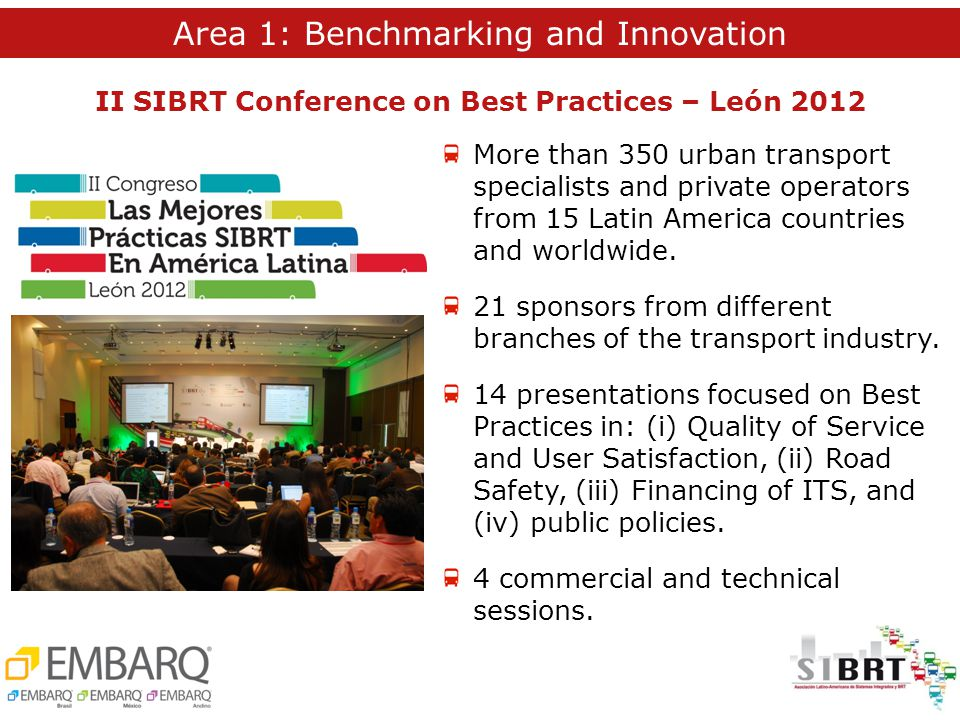 More than 350 urban transport specialists and private operators from 15 Latin America countries and worldwide.