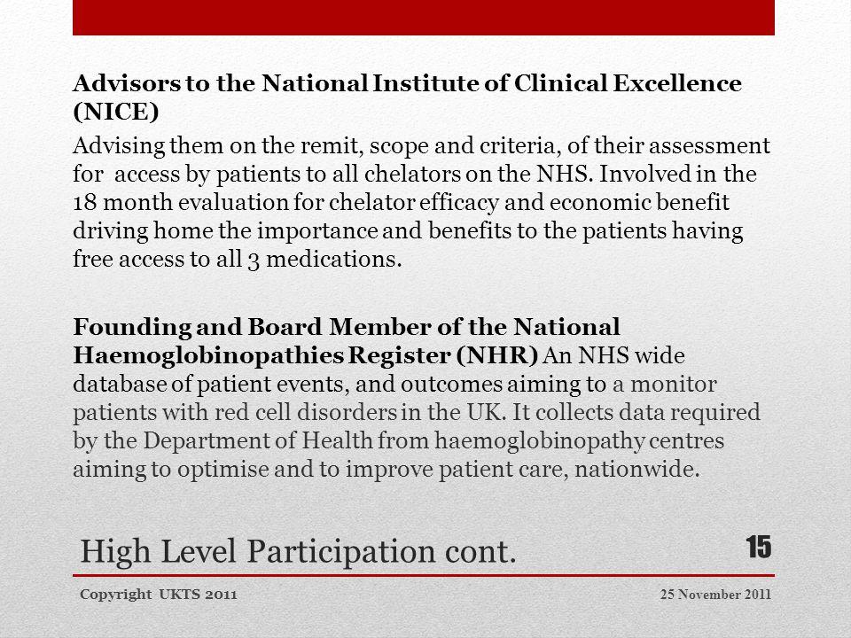 High Level Participation cont.