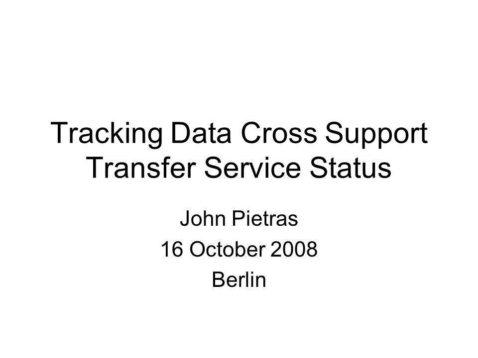 John Pietras 16 October 2008 Berlin Tracking Data Cross Support Transfer Service Status