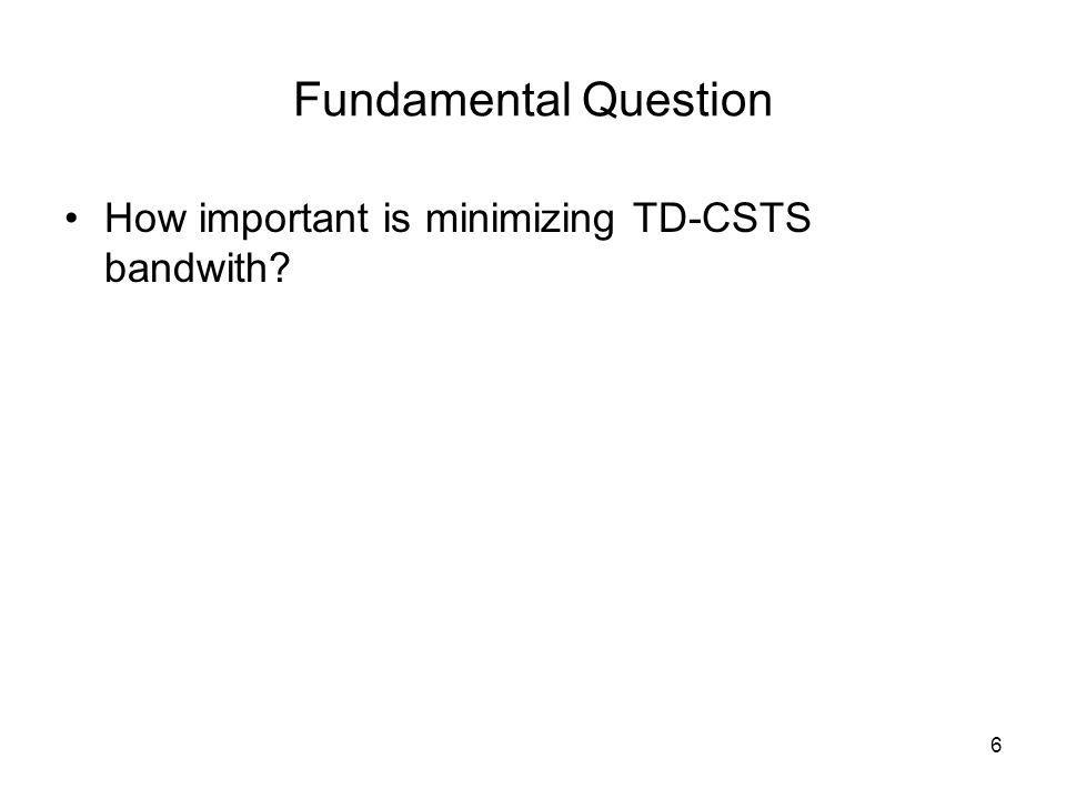 6 Fundamental Question How important is minimizing TD-CSTS bandwith