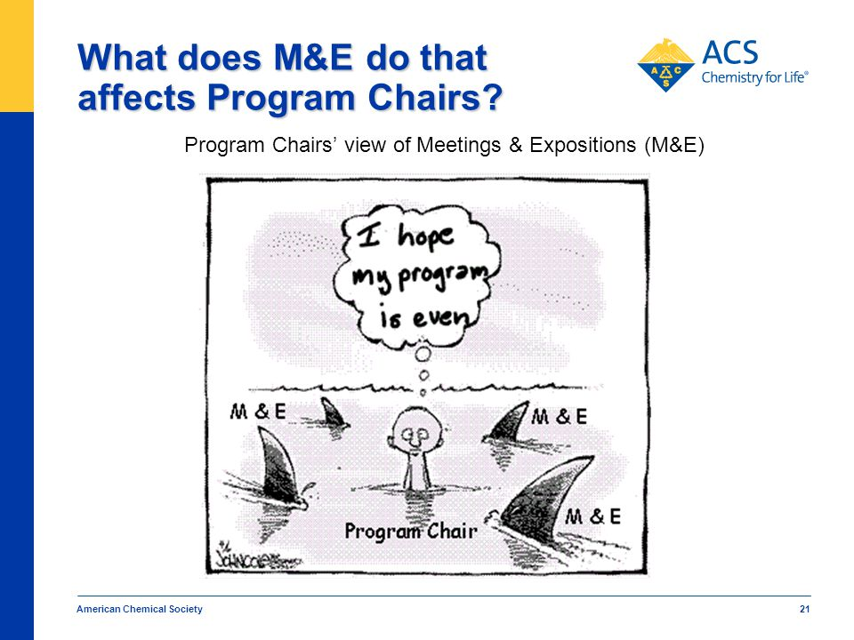 American Chemical Society 21 What does M&E do that affects Program Chairs.