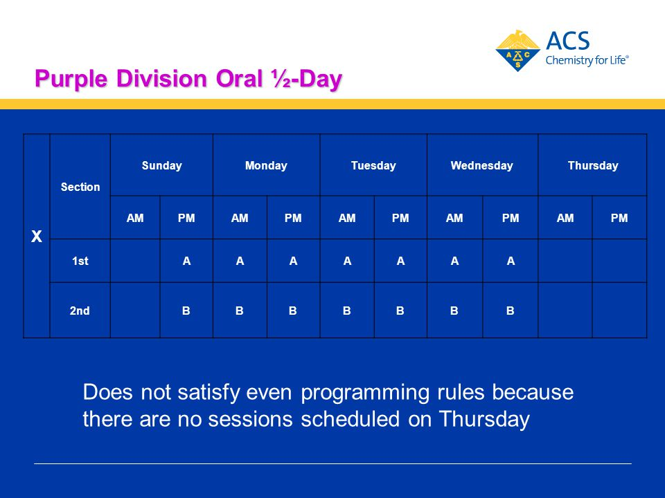 Purple Division Oral ½-Day X Section SundayMondayTuesdayWednesdayThursday AMPMAMPMAMPMAMPMAMPM 1st AAAAAAA 2nd BBBBBBB Does not satisfy even programmi
