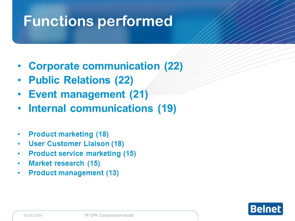 Corporate communication (22) Public Relations (22) Event management (21) Internal communications (19) Product marketing (18) User Customer Liaison (18) Product service marketing (15) Market research (15) Product management (13) Functions performed TF-CPR Compendium results