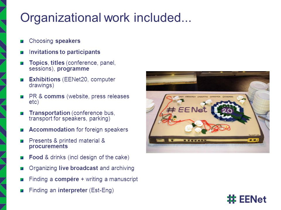 Organizational work included...