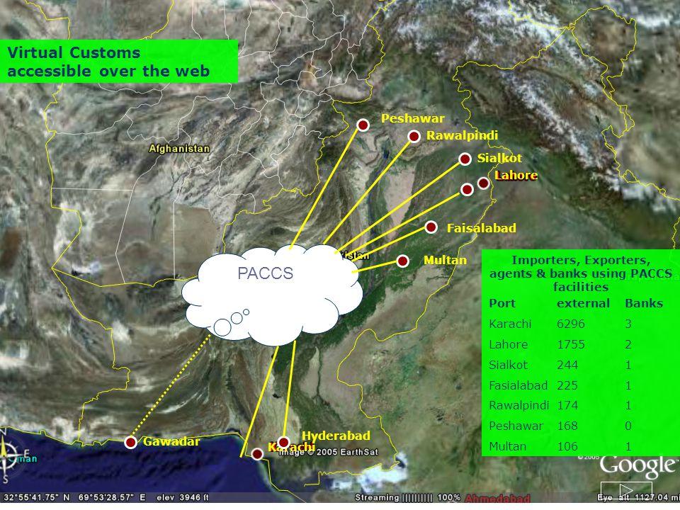 Faisalabad Lahore Karachi Multan Rawalpindi Peshawar Gawadar Hyderabad Quetta Importers, Exporters, agents & banks using PACCS facilities PortexternalBanks Karachi62963 Lahore17552 Sialkot2441 Fasialabad2251 Rawalpindi1741 Peshawar1680 Multan1061 Sialkot PACCS Virtual Customs accessible over the web
