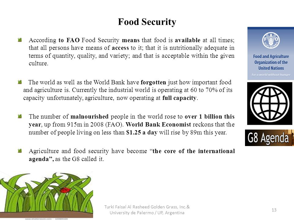 Food Security According to FAO Food Security means that food is available at all times; that all persons have means of access to it; that it is nutritionally adequate in terms of quantity, quality, and variety; and that is acceptable within the given culture.