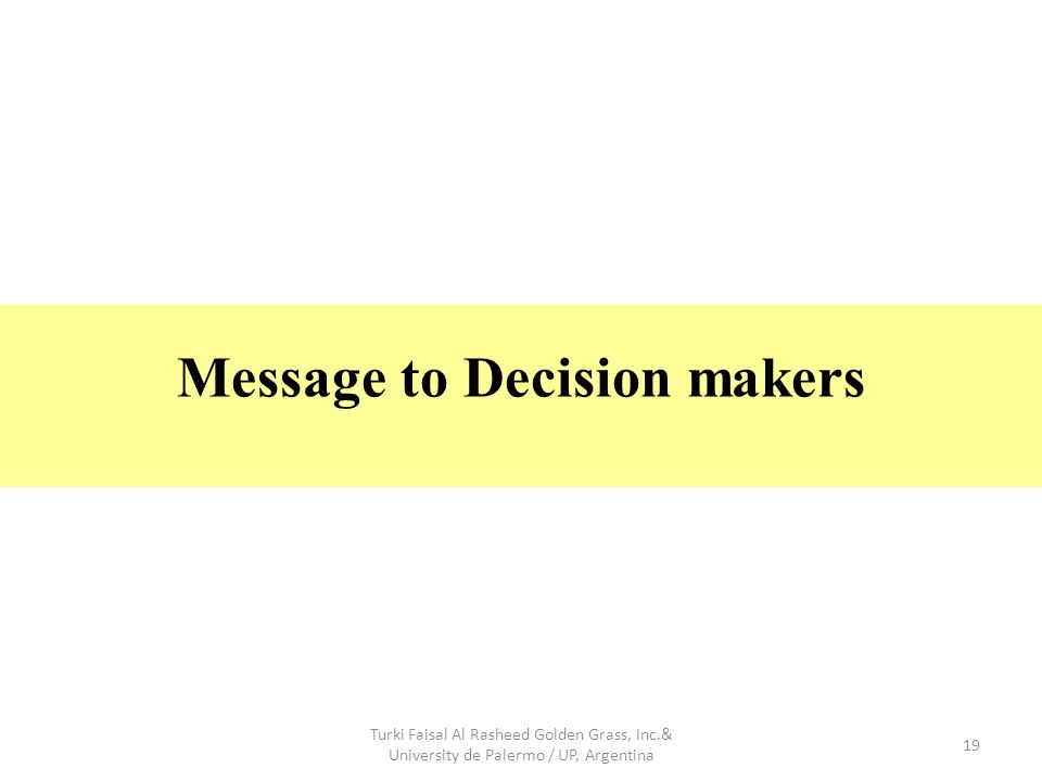 19 Message to Decision makers